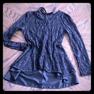 Lacy high low fitted blouse